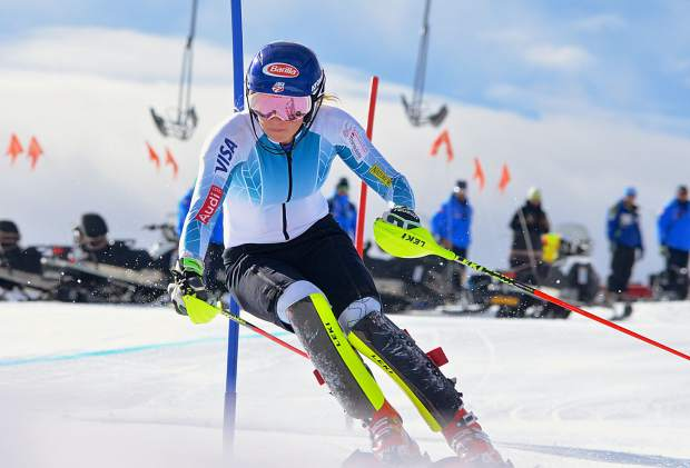 Olympic gold medalist Mikaela Shiffrin weaves through gates during slalom training with the U.S. Ski Team at Copper Mountain on Nov. 16. The American team was joined by dozens of athletes from national teams across the world for training on a shortened course.