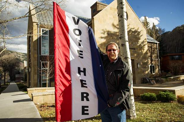 Bob Jenkins, the Pitkin County Republican Chairman, outside of the polling venue in Aspen at the Jewish Community Center.