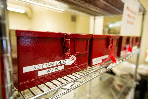 The secure transfer cases utilized in the mail in ballot election process.