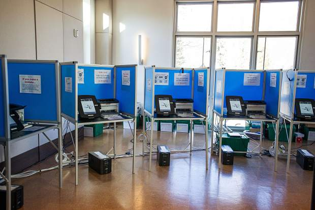 Electronic polling booths are set up and ready for more voters at the Aspen Jewish Community Center.