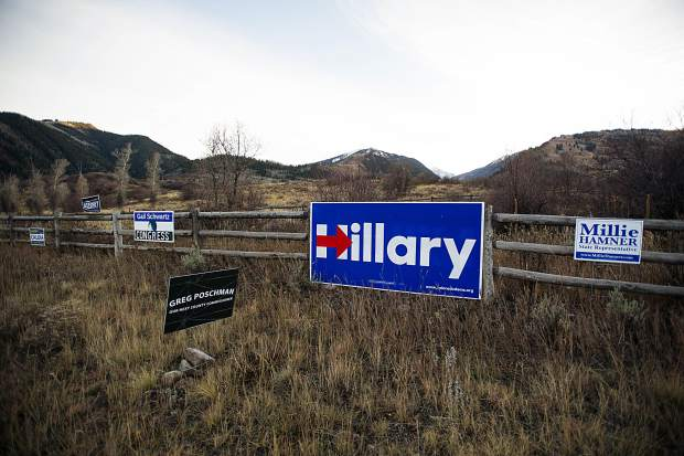 Signs in support of Democratic candidates on Highway 82.