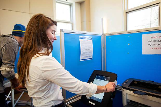 Amelia Russo voting at the Aspen Jewish Community Center Tuesday morning.