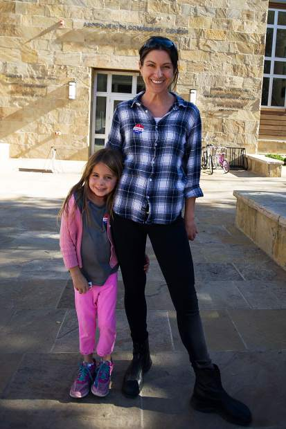 Val Yaw and daughter Sylvia at the Aspen Jewish Community Center after voting on Tuesday.