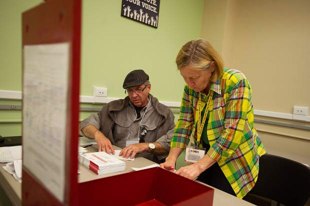 Pitkin County Clerk and Recorder Janice Vos Caudill aids in the ballot counting process on Tuesday.