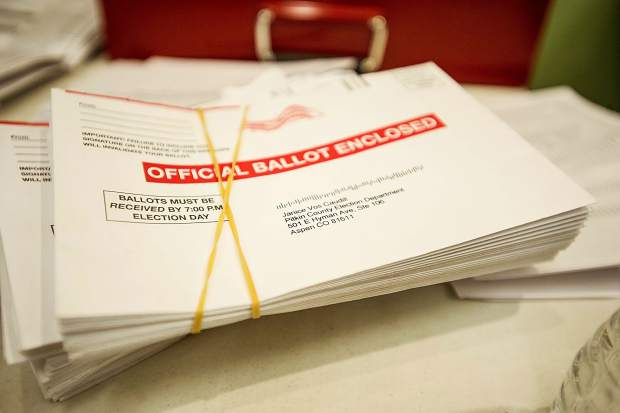 Ballots at the Clerk and Recorder's office on Tuesday.