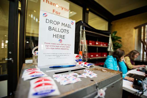 Mail in ballot drop off box at the Pitkin County Clerk and Recorder's Office on Tuesday.