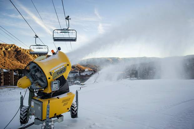 Snow guns blasting on Fanny Hill in Snowmass on Saturday the 19th in preparations for opening day.