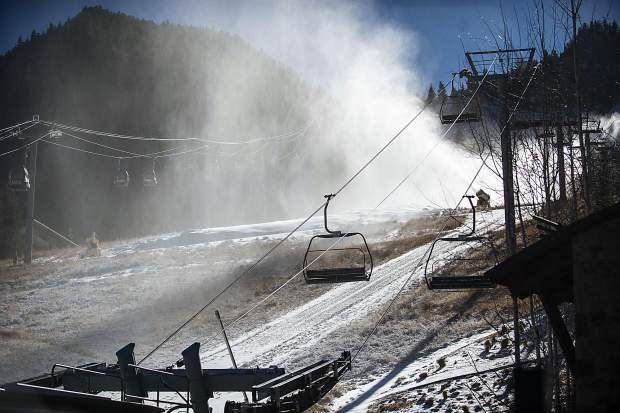 Snow guns in use on Aspen Mountain on Friday due to the decrease in temperature.