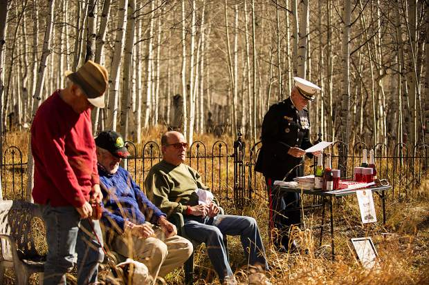 Guests gathered for a ceremony and cake at the Aspen Grove Cemetery on Thursday to celebrate the Marine Corps' birthday.