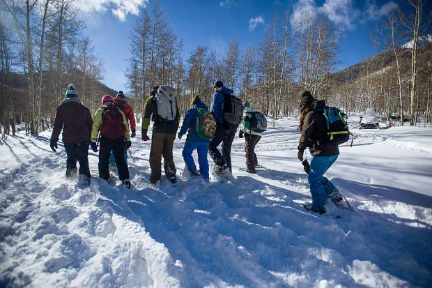 Future naturalists for the Aspen Center for Environmental Studies strap on snowshoes during training Wednesday morning at King's Cabin in Ashcroft and pack down trails that will be used for touring the routes they will lead guests on this winter.