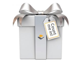 gift wrapped box with AVH logo