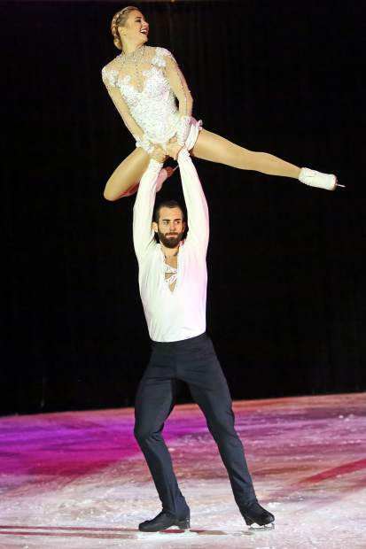 Ashley Cain, top, and Timothy LeDuc, U.S. Figure Skating's newest duo, performs Saturday at the Aspen Ice Spectacular at Lewis Ice Arena.