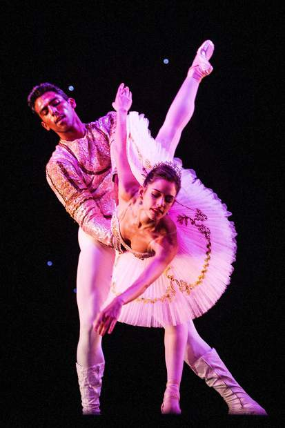 Sugar Plum Fairy, Anna Gerberich, dances with partner, the Cavalier, Pete Leo Walker, for the Aspen Santa Fe Ballet dress rehearsal of the Nutcracker at the Aspen District Theatre Wednesday afternoon.