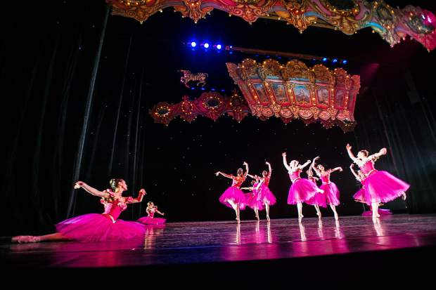 The flower characters dance for the Aspen Santa Fe Ballet dress rehearsal of the Nutcracker at the Aspen District Theatre Wednesday afternoon.