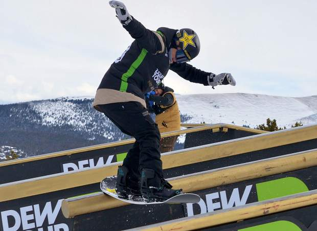 Scenes from snowboard and freeski slopestyle jib finals at Dew Tour on Saturday. The day started clear and blustery before another round of snow blew into Breckenridge.