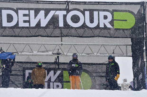 American skier Devin Logan gets ready to drop in for her final run at the women's ski slopestyle jump finals for Dew Tour in Breckenridge on Friday morning. Logan ended the day in 6th overall heading into today's jib finals.