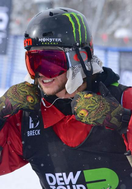 Sweden's Henrik Harlaut waits between runs during the men's ski slopestyle jump finals on Friday. Harlaut ended the day in first overall with an 81.32 heading into today's jib finals.