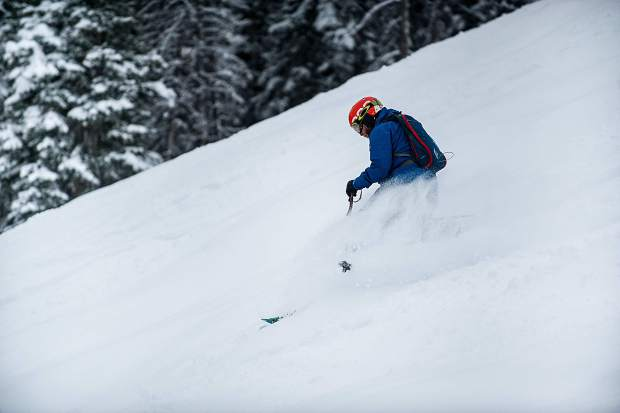 A teleskier makes his way through the fresh powder on Northstar on Aspen Mountain on Friday.