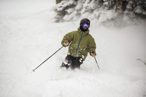 J.C. Vivian gets in some powder turns on the back of Bell before heading to work on Aspen Mountain's first powder day of the season this Wednesday.