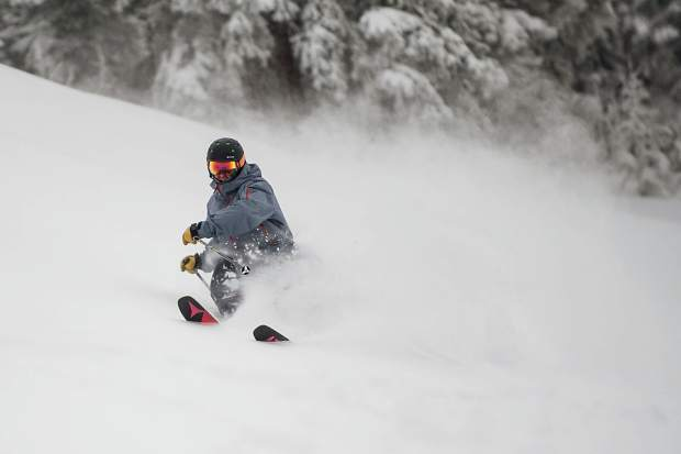 Sam Augustine takes some powder turns on Copper Bowl at Aspen Mountain on Wednesday.