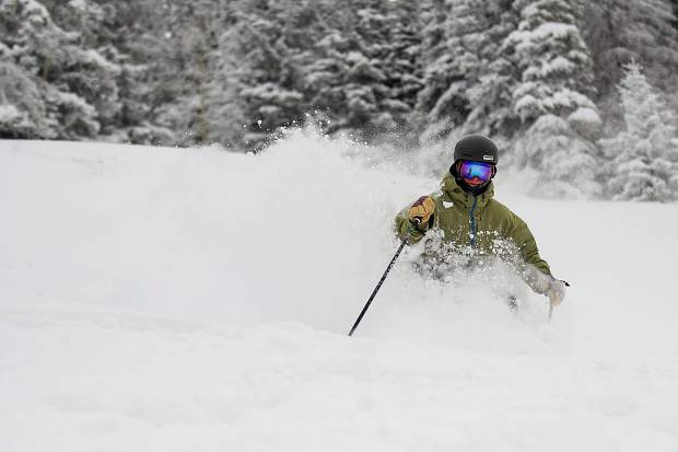 J.C. Vivian takes some powder turns in Copper Bowl on Aspen Mountain on Wednesday.