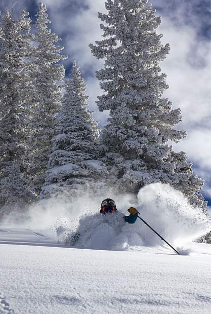 TJ David enjoys the first powder day on Aspen Mountain on Wednesday.
