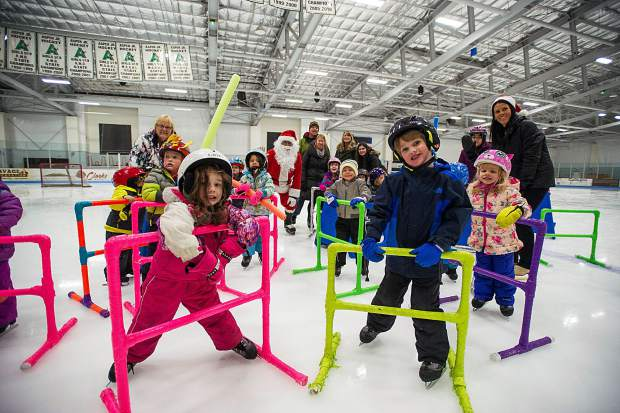 Growing Years School from Basalt visits Santa on Wednesday morning at the Lewis Ice Arena at the Aspen Rec Center. Santa's last day on the ice is today from 10:30-11:15a.m.