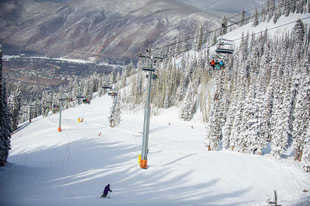 Skiers and snowboarders enjoy Aspen Mountain on Thursday afternoon.