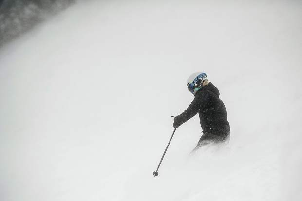 A skier enjoying the powder on Northstar on Aspen Mountain on Saturday.