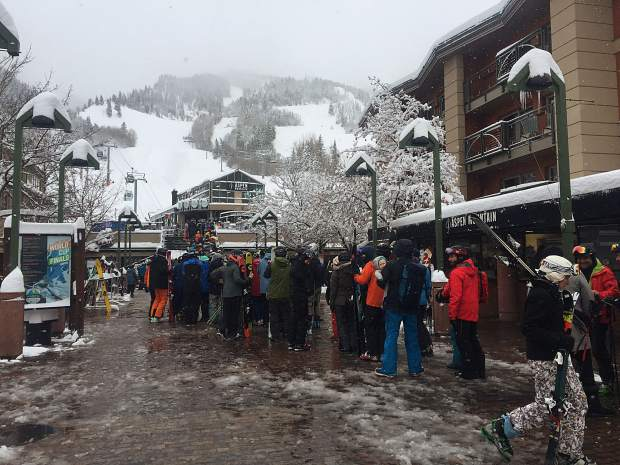 The line at the Silver Queen Gondola Saturday morning when 18