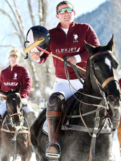 Flexjet's Jesse Bray gets in a victory lap after his team defeated US. Polo Assn. for the 2016 World Snow Polo Championship.