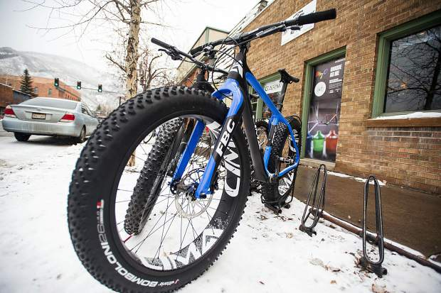 Ute City Cycles' has their CIMA fat bikes on display outside of their shop on Main Street in Aspen.