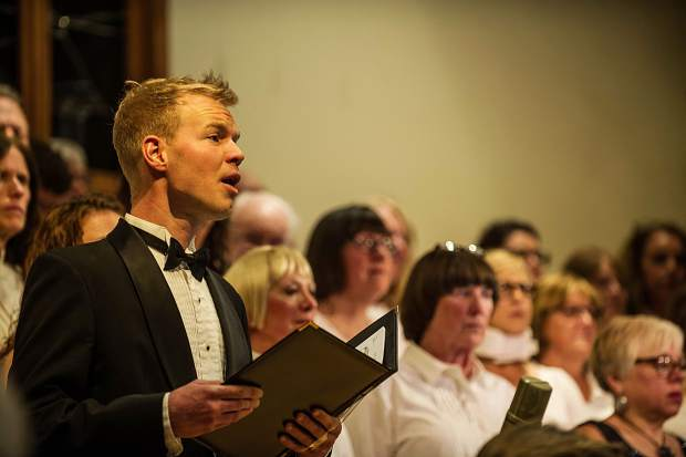 A soloist performing at the Messiah choral performance at the Snowmass Chapel on Saturday, December 10.