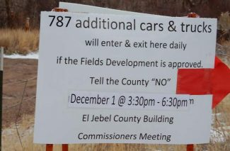 Opponents of The Fields application in the El Jebel area posted this sign to rally people to a meeting Thursday. About 50 people attended but they couldn't sway the Eagle County commissioners.