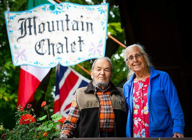 Ralph and Marian Melville pose in September 2013 in front of the Mountain Chalet Aspen, the ski lodge Ralph began building in 1954. He also was involved with what became Mountain Rescue Aspen from 1956 until the early 1990s. Ralph Melville died Feb. 15, 2016, at the age of 90.