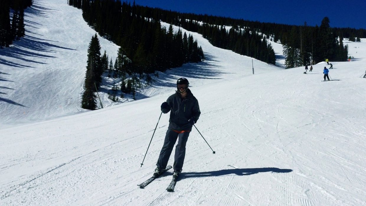 Special Olympian Chris Guay, of Glenwood Springs, skis Snowmass on Friday with participants from the North American Police Ski Championships. The annual ski race has raised about $800,000 for the Special Olympics winter sports program, according to its website.