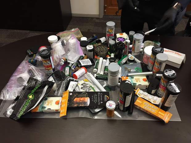 The numerous marijuana-related items deposited in three amnesty boxes at the Aspen airport often include unopened packages, which could mean tourists often over-purchase at area dispensaries, Pitkin County Sheriff Joe DiSalvo said.