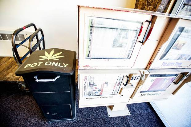 One of the marijuana amnesty boxes at the Aspen airport.
