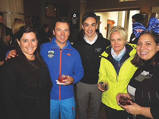 Kristi Kavanaugh with Aspen Skiing Company, Australian James Rowden of the Luxury Network, Mark Elias of The Little Nell, a friend and Casey Leach with Aspen Skiing Company.