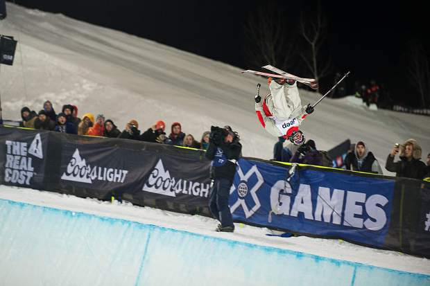 Crested Butte's Aaron Blunck goes big out of the superpipe at X Games on Friday. He placed first in the Men's Ski Superpipe Finals.