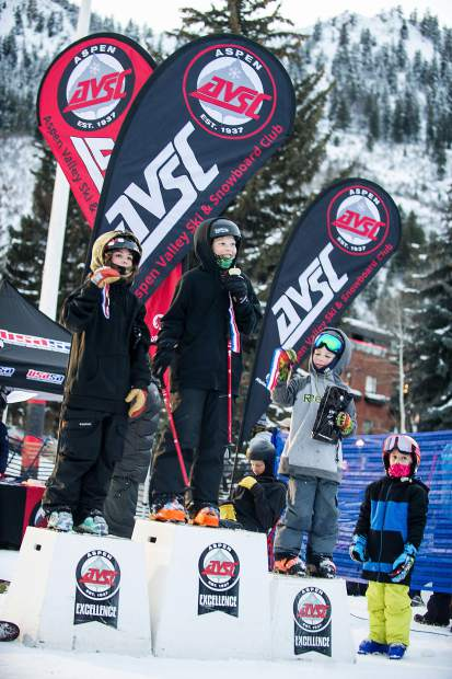 The top-3 winners from the groms heat at the Winterskol Aspen Valley Ski and Snowboard Club rail jam in Wagner Park Friday. Blake Hudson came in first, Sheldon Sims, second, and Hunter Maytin came in third.
