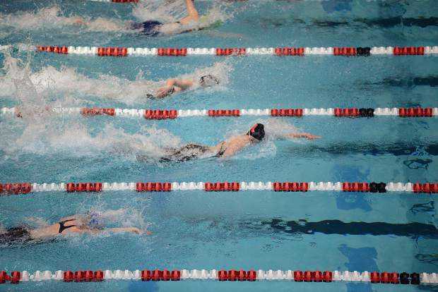 Aspen High School senior Kennidy Quist competes in the finals of the 100-yard freestyle on Saturday at the 3A state meet in Thornton. Quist was the anchor who led the Skiers to their first state championship in swimming.