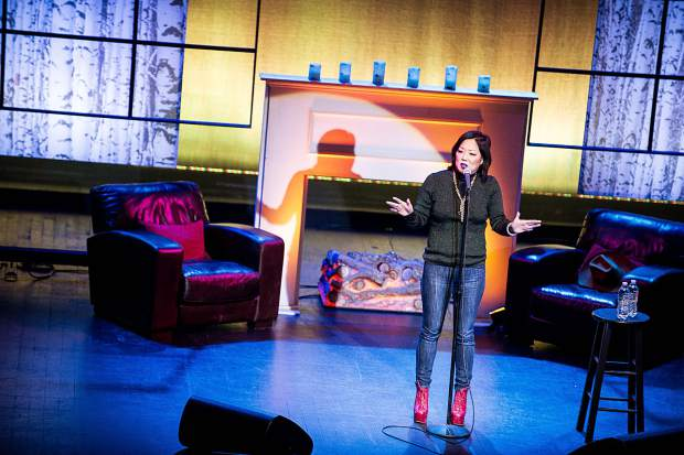 Stand-up comedian Margaret Cho performing for Laff Fest at the sold out show Thursday evening at The Wheeler Opera House.