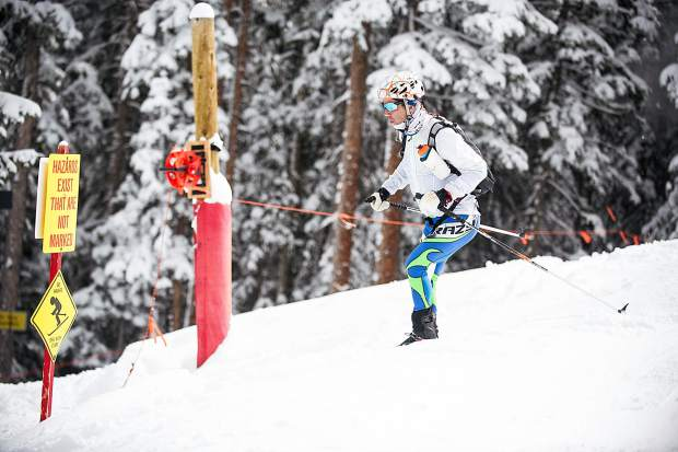 Tim Faia skis down to Walsh's on Aspen Mountain for the last leg of the Power of Four race held on Saturday.