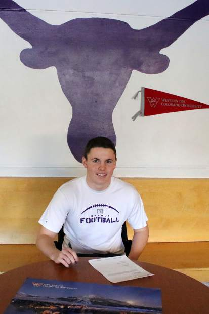 Basalt High School senior Kyle Roberts signed his letter of intent Wednesday to play football at Western State in Gunnison.