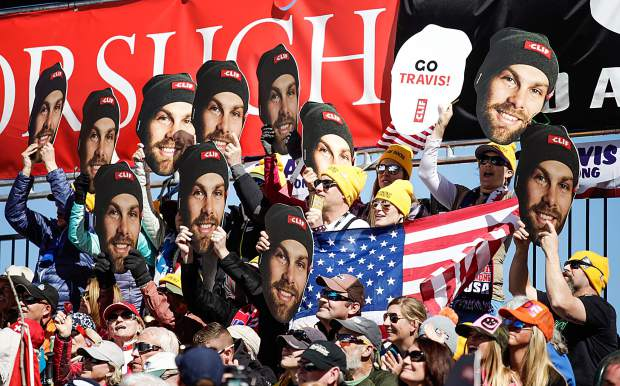 The Travis Gonong fan club during his Super G race on Thursday in Aspen.