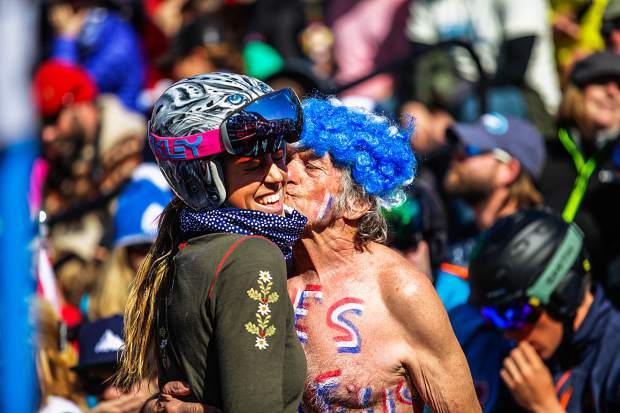 France ski racer Tiffany Gauthier gets love from some of the crowd after her Super G race for the World Cup Finals on Thursday in Aspen.