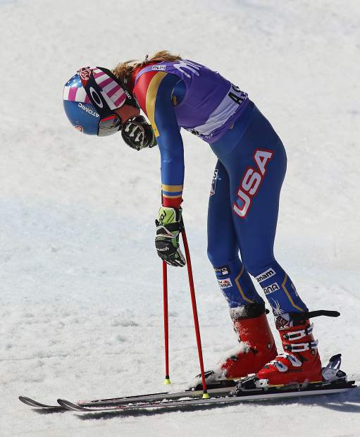 United States' Mikaela Shiffrin reacts after the second run of a women's World Cup giant slalom ski race Sunday, March 19, 2017, in Aspen, Colo. (AP Photo/Nathan Bilow)
