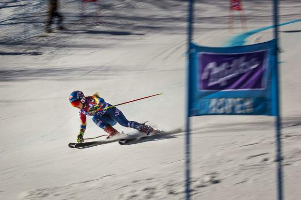 Mikaela Shriffin flies down the giant slalom course Sunday during World Cup Finals.