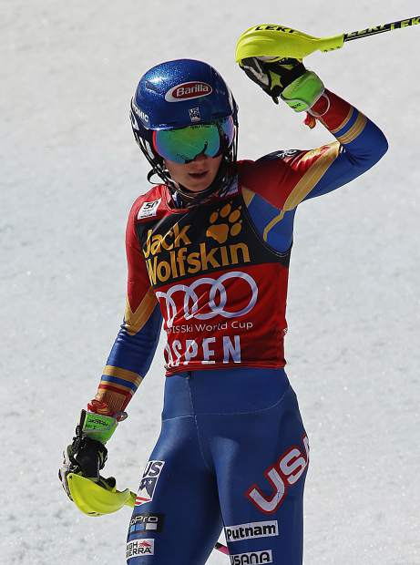 United States' Mikaela Shiffrin reacts after the second run of a women's World Cup slalom ski race Saturday, March 18, 2017, in Aspen, Colo. (AP Photo/Nathan Bilow)